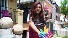 Ruby Cardo in front LGBTQ shelter. Credit: Matailong Du